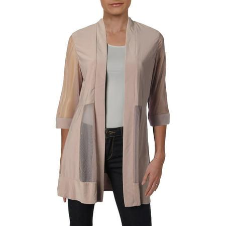 R&M Richards Womens Petites Mesh Sheer Jacket