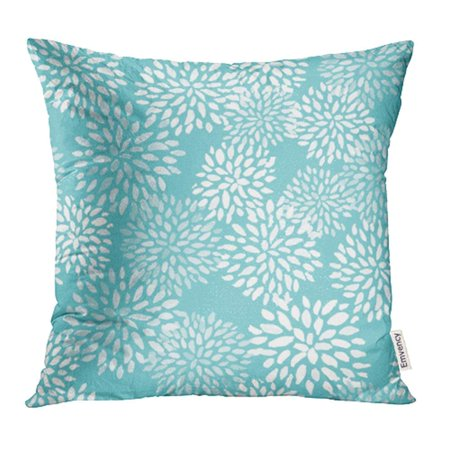 Blue Floral Pillowcases (CMFUN Watercolor Pom Teal Sunburst Pattern Blue Cute Abstract Floral Burst Balls Pillow Case Pillow Cover 20x20 inch Throw Pillow Covers )