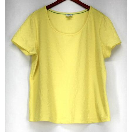 Jaclyn Smith Sz 1X Textured Short Sleeve Tee Yellow Top Womens ()