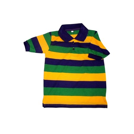 Ss Stripe Polo - Mardi Gras Stripe Purple Green Yellow Knit Child Medium SS Polo Shirt