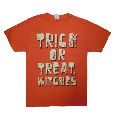Happy Halloween Mens Orange Glow In The Dark Trick Or Treat Witches T-Shirt