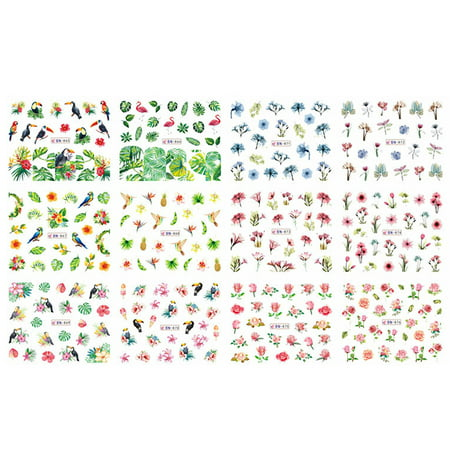 1 Sheet Nail Sticker Set Mixed Summer Rose Daisy Flamingo Flower Nail Paper Tip Nail Art Styling Set DIY Watermark Manicure](Diy Halloween Manicures)