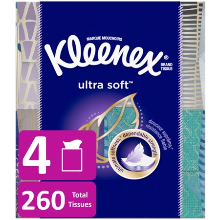 Epithelial Tissue - Kleenex Ultra Soft Facial Tissues, 4 Cube Boxes, 65 Tissues per Cube (260 Tissues Total)