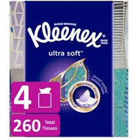 Kleenex Ultra Soft Facial Tissues, 4 Cube Boxes, 65 Tissues per Cube (260 Tissues Total)