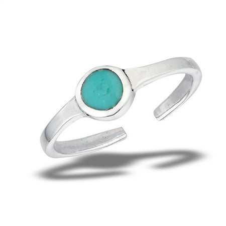 Stackable Round Simple Simulated Turquoise .925 Sterling Silver Thin Minimalist Toe Ring
