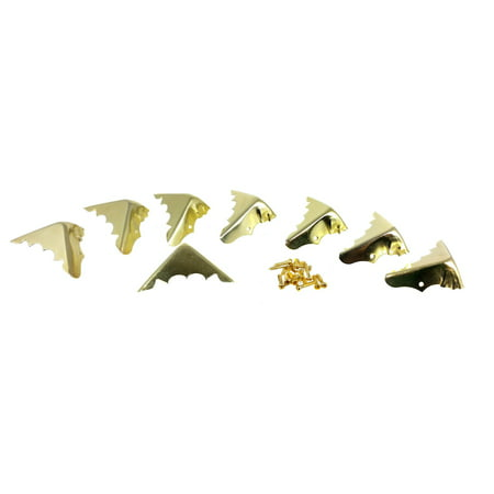 8pcs. Decorative Brass-Plated Box Corners with Mounting Screws