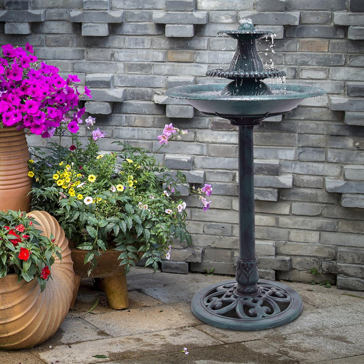 Gymax 3 Tier Fountain Garden Decor Pedestal Outdoor Bird Bath Water Fountain W/Pump