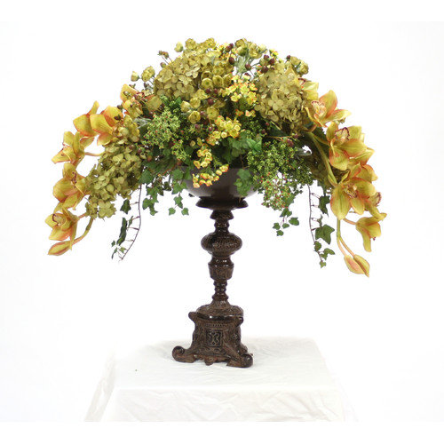 Distinctive Designs Silk Foliage and Floral Mix on Ornate Espresso Pedestal