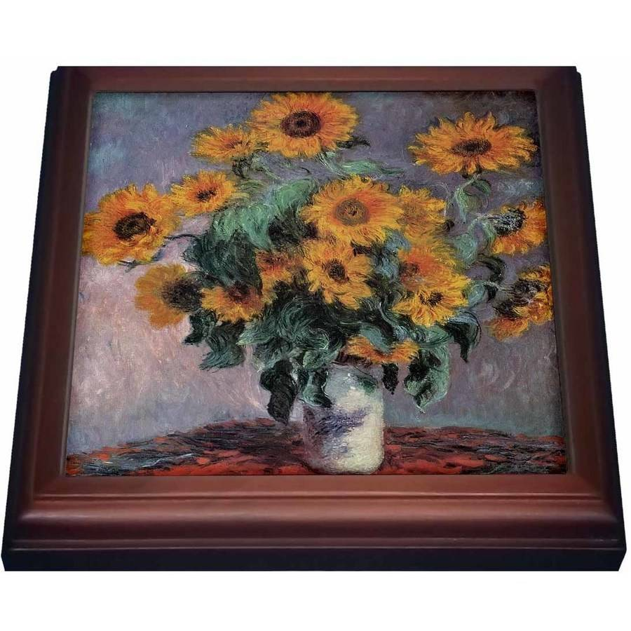 3dRose Sunflowers by Claude Monet Impressionist Still Life, Trivet with Ceramic Tile, 8 by 8-inch