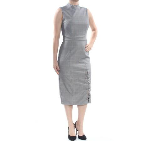 XOXO Womens Black Mock Neck Plaid Lace Up Sleeveless Below The Knee Sheath Wear To Work Dress Juniors Size: XXL