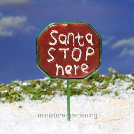 Midwest Design Imports, Inc Santa Stop Here Sign for Miniature Garden, Fairy - Santa Stop Here Sign