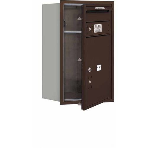 """Salsbury Industries 4C Horizontal Mailbox 7-Door High Unit (27""""), Single Column, Stand-Alone Parcel Locker-1 PL5 with Outgoing Mail Compartment, Aluminum, Front Load, USPS Access"""