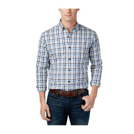 Club Room Mens Classic-Fit Check Button Up Shirt lightgreyhtr M