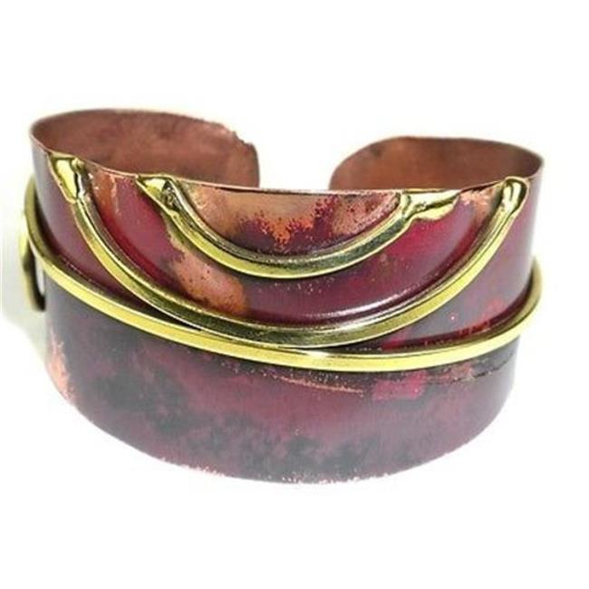 Brass Images Red Copper & Brass Scroll Oval Cuff