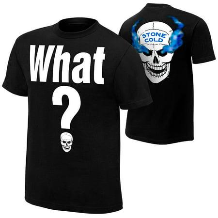 Official WWE Authentic Stone Cold Steve Austin What Retro T-Shirt Black (Stone Cold Steve Austin Vs Booker T)
