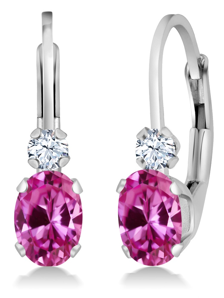 1.28 Ct Pink Created Sapphire White Created Sapphire 14K White Gold Earrings by