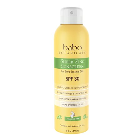 Babo Botanicals Sheer Zinc SPF 30 Natural Continuous Spray Fragrance Free Sunscreen for Sensitive Skin, Yellow Pack of 1 (Continuous Fragrance)