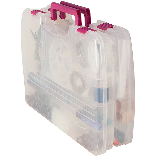 "Creative Options Pro Latch Connectable Satchel, 14.75"" x 2"" x 11"", 5-22 Movable Compartments, Clear/Magenta"
