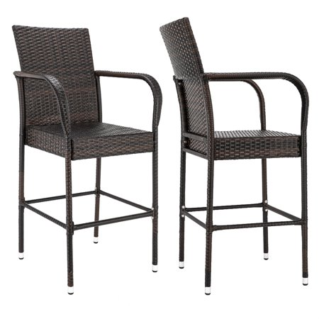 Excellent Bar Stools With Back Sets Of 2 Upgraded Wicker Bar Stool Chairs Outdoor Patio Furniture Barstool Rattan Chair W Armrest And Footrest Bar Height Evergreenethics Interior Chair Design Evergreenethicsorg