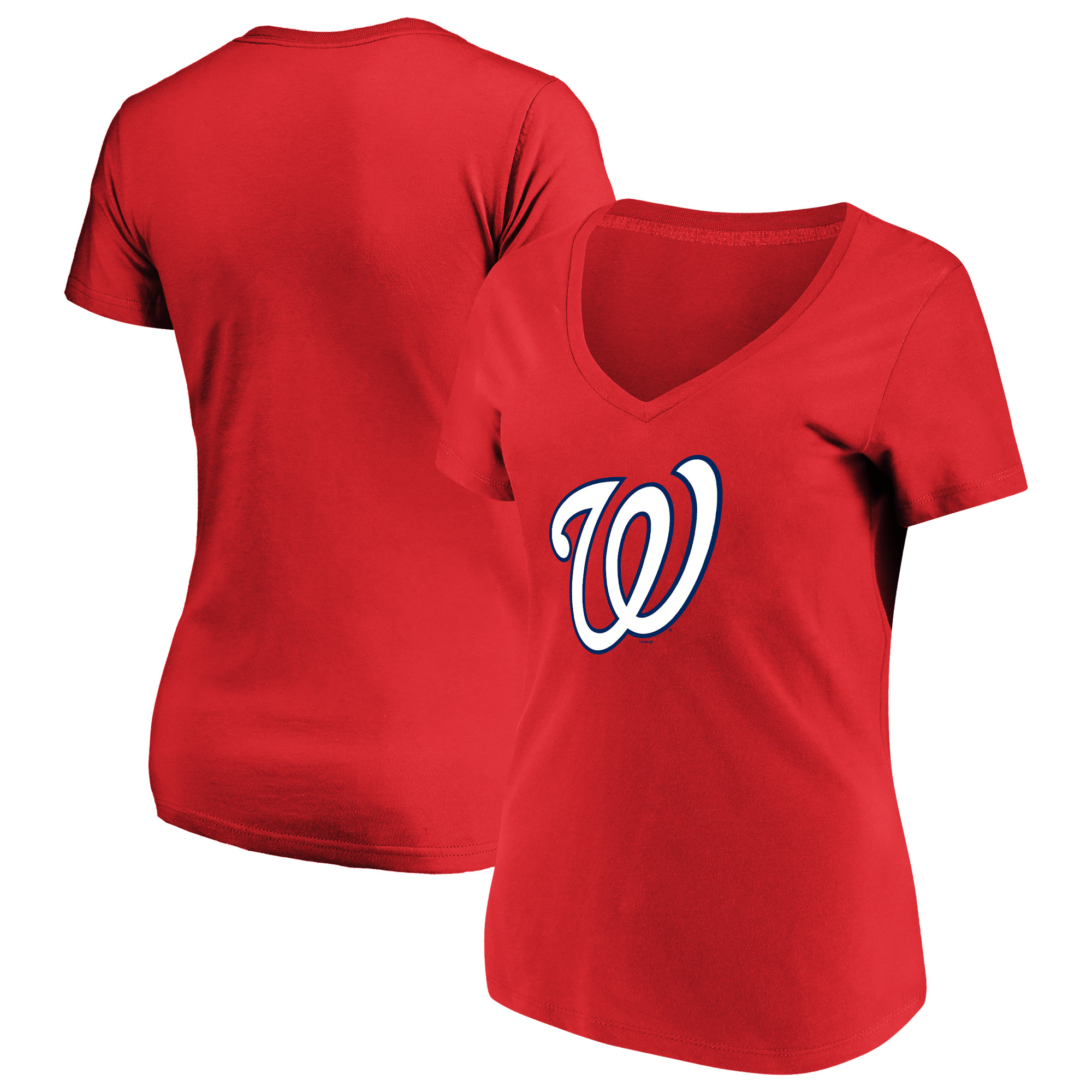 Women's Majestic Red Washington Nationals Top Ranking V-Neck T-Shirt