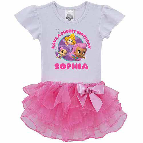 Personalized Bubble Guppies Girls' Birthday Pink Tutu Shirt