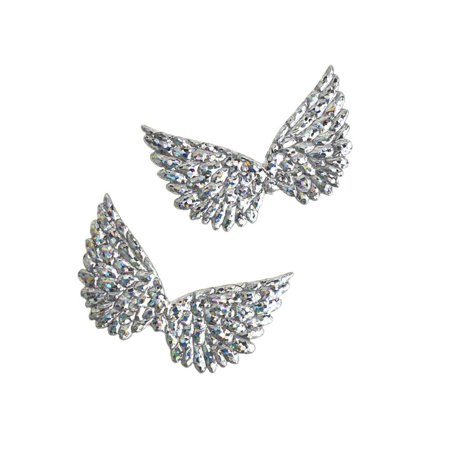 Holographic Embossed Angel Wing Party Favor Embellishments, 1-1/2-Inch, 6-Count, Silver