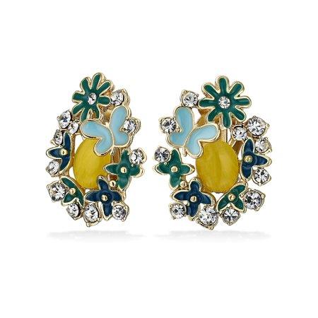 Aqua Brass Crystal (Yellow Aqua Black Butterflies Flower Cats Eye Garden Clip On Earrings For Women Non Pierced Ears Gold Plated Brass)