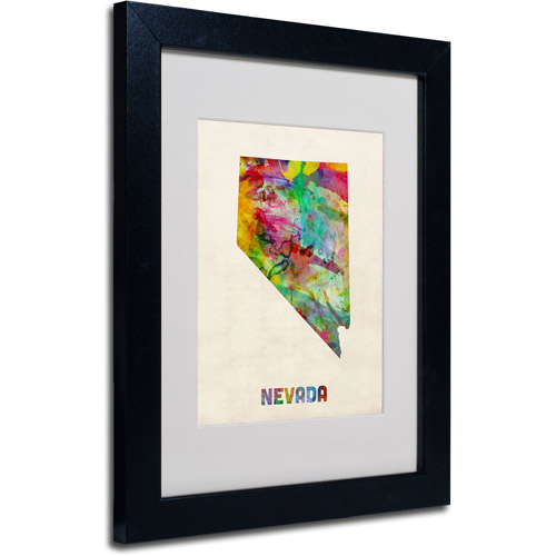 "Trademark Fine Art ""Nevada Map"" Matted Framed Art by Michael Tompsett, Black Frame"