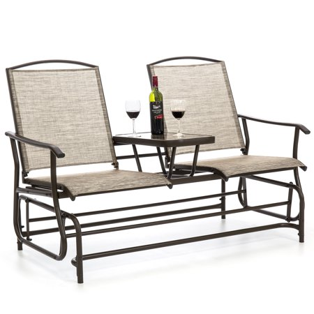 Best Choice Products 2-Person Outdoor Mesh Patio Double Glider with Tempered Glass Attached Table,