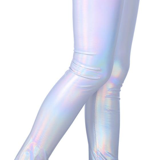 3b86e5aa91f38 HDE Girls Shiny Wet Look Leggings Kids Liquid Metallic Footless Tights  /(4T-12