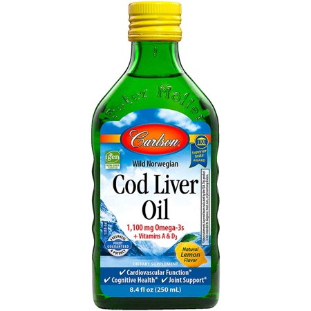 Carlson Cod Liver Oil, Norwegian, Lemon, 1,100 mg Omega-3s, 500 (Carlson Cod Liver Oil Lemon Flavor 16-9 Oz)