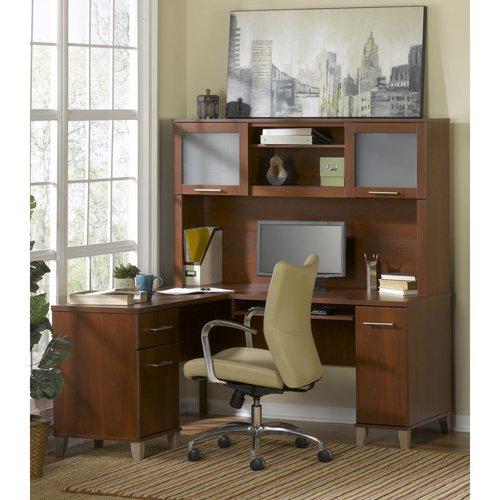 Bush Somerset 60 LShaped Computer Desk and Hutch Set Walmartcom