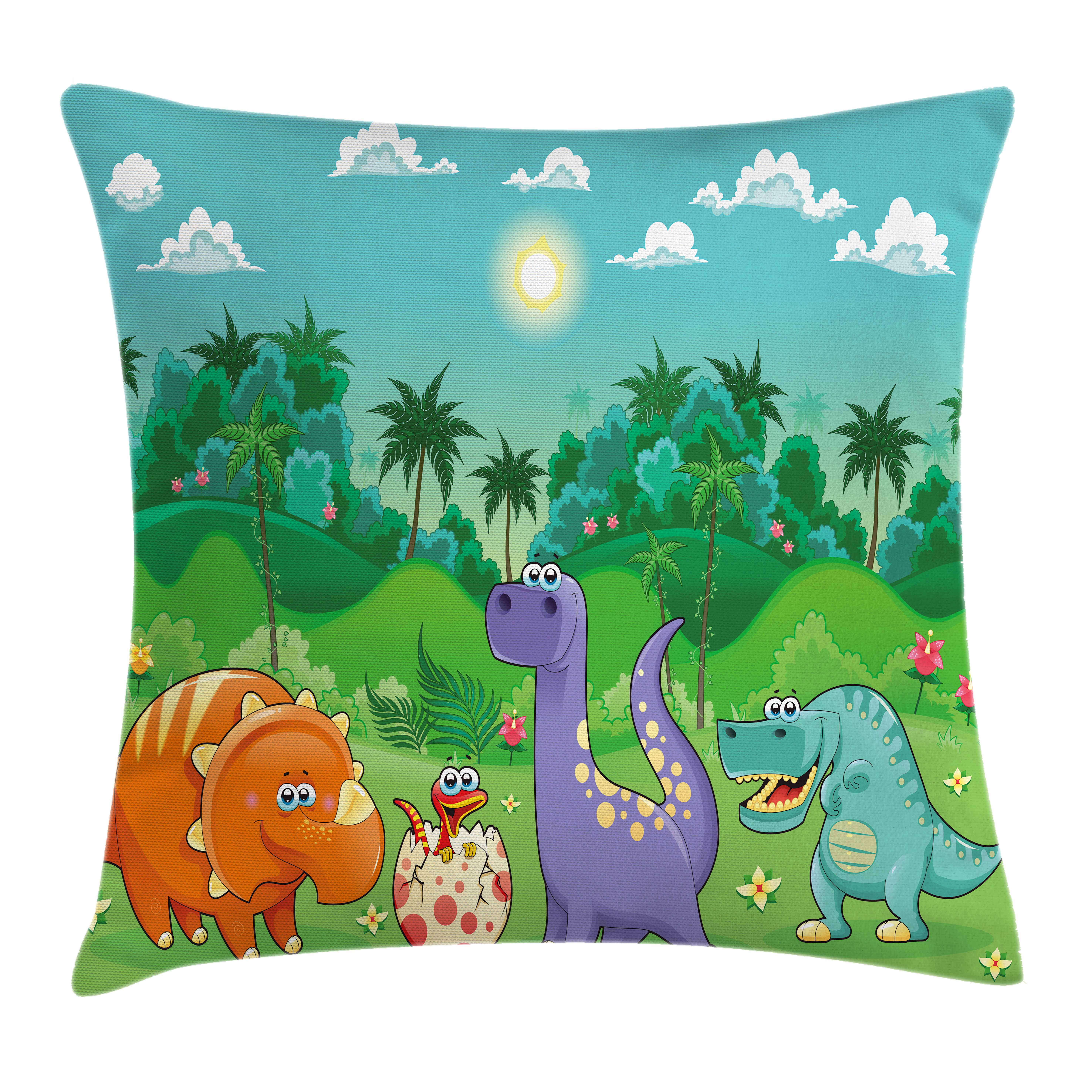 Nursery Throw Pillow Cushion Cover, Funny Dinosaurs and Tropical Rainforest Cartoon Jungle Green Landscape Kids Theme, Decorative Square Accent Pillow Case, 16 X 16 Inches, Multicolor, by Ambesonne