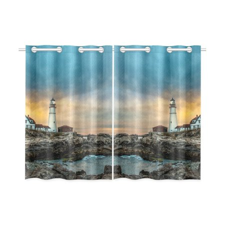 MYPOP Peaceful Sea Lighthouse Window Curtain Kitchen Curtain 26x39 inches (Two Piece) (Lighthouse Kitchen Curtains)