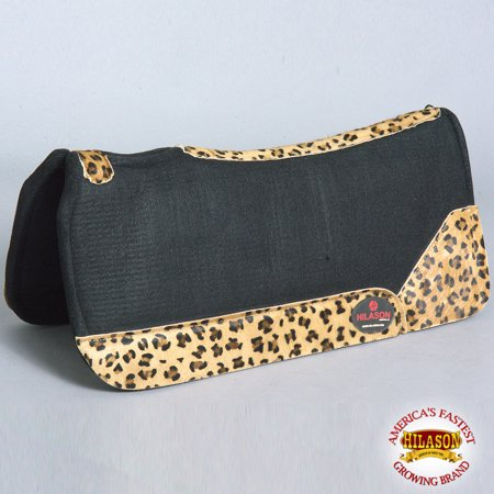 Impact Gel Western Saddle Pad - FP804F- HILASON WESTERN WOOL FELT GEL SADDLE PAD W/ LEOPARD PRINT LEATHER