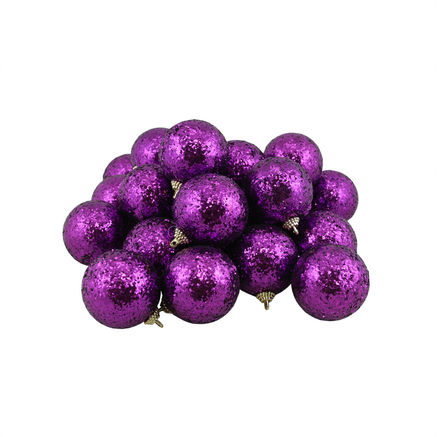 "24ct Violet Incassable Sequin Terminer Boule de Noël Ornements 2.5"" (60mm)"