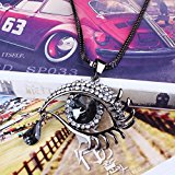 Glass Beads Drop Pendant Necklace (Qiyun Faceted Crystal Oval Tear Drop Bead Eye Shape Design Pendant Link Necklace )