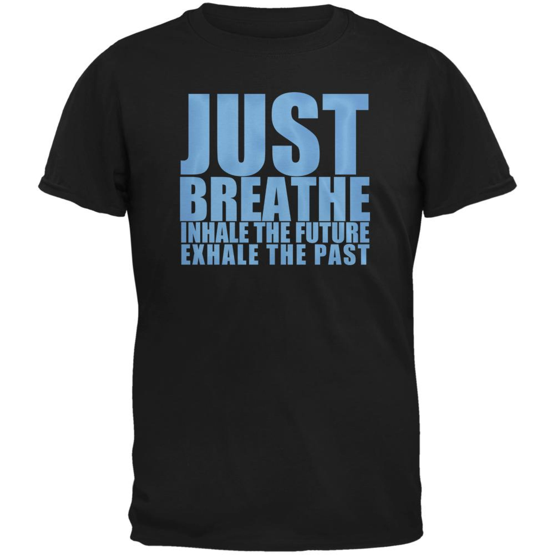Old Glory Just Breath Meditation Inspiration Black Adult T Shirt Small