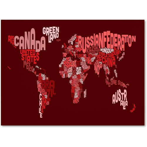 Trademark Art 'World Text Map 3' Canvas Art by Michael Tompsett