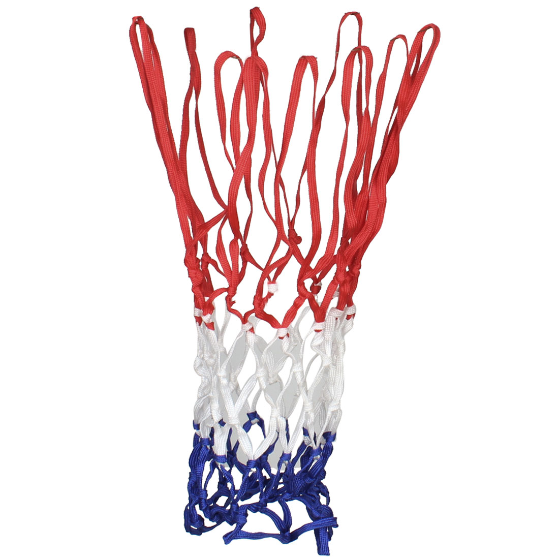 "2 Pcs Red Blue White Nylon Braided Basketball Net 20.5"" Length 12 Loop"