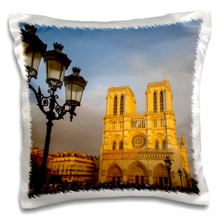 3dRose Setting sunlight on facade of Cathedral Notre Dame, Paris, France - Pillow Case, 16 by 16-inch