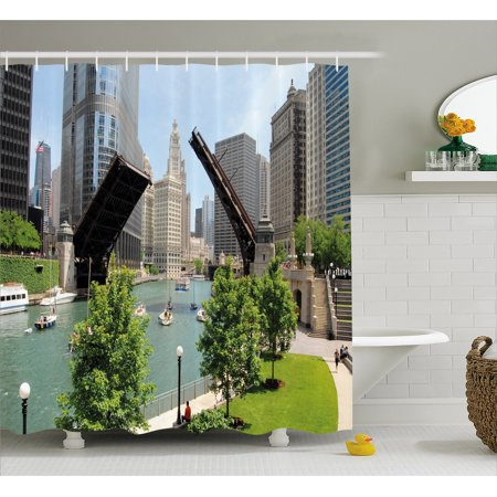 United States Shower Curtain, Downtown Chicago Illinois Finance Business Center Lake Michigan Avenue Bridge, Fabric Bathroom Set with Hooks, 69W X 84L Inches Extra Long, Multicolor, by (State Street Downtown Chicago)