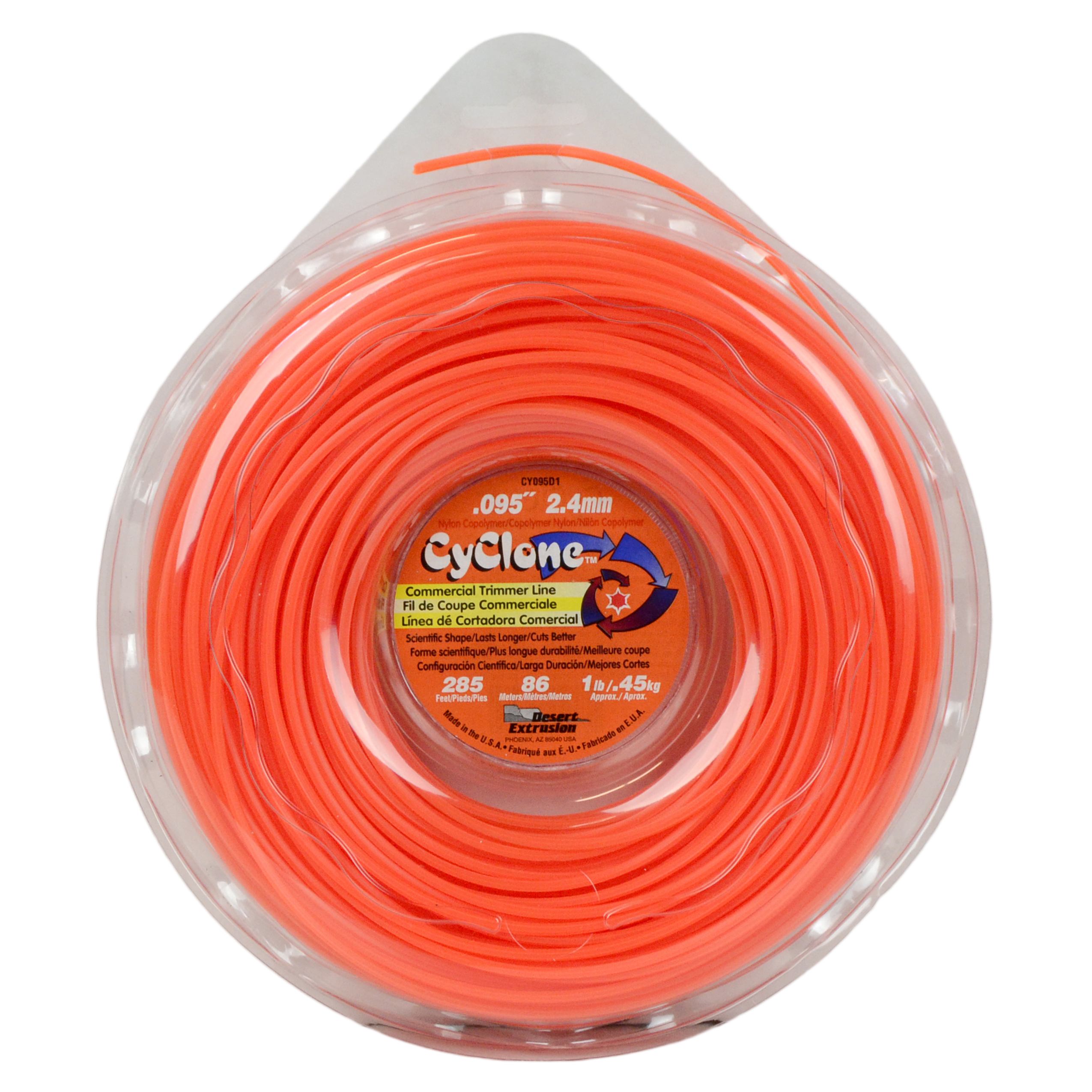 "Cyclone CY095D1 0.095"" x 285' Commercial String Trimmer Line Orange, Made in the USA"