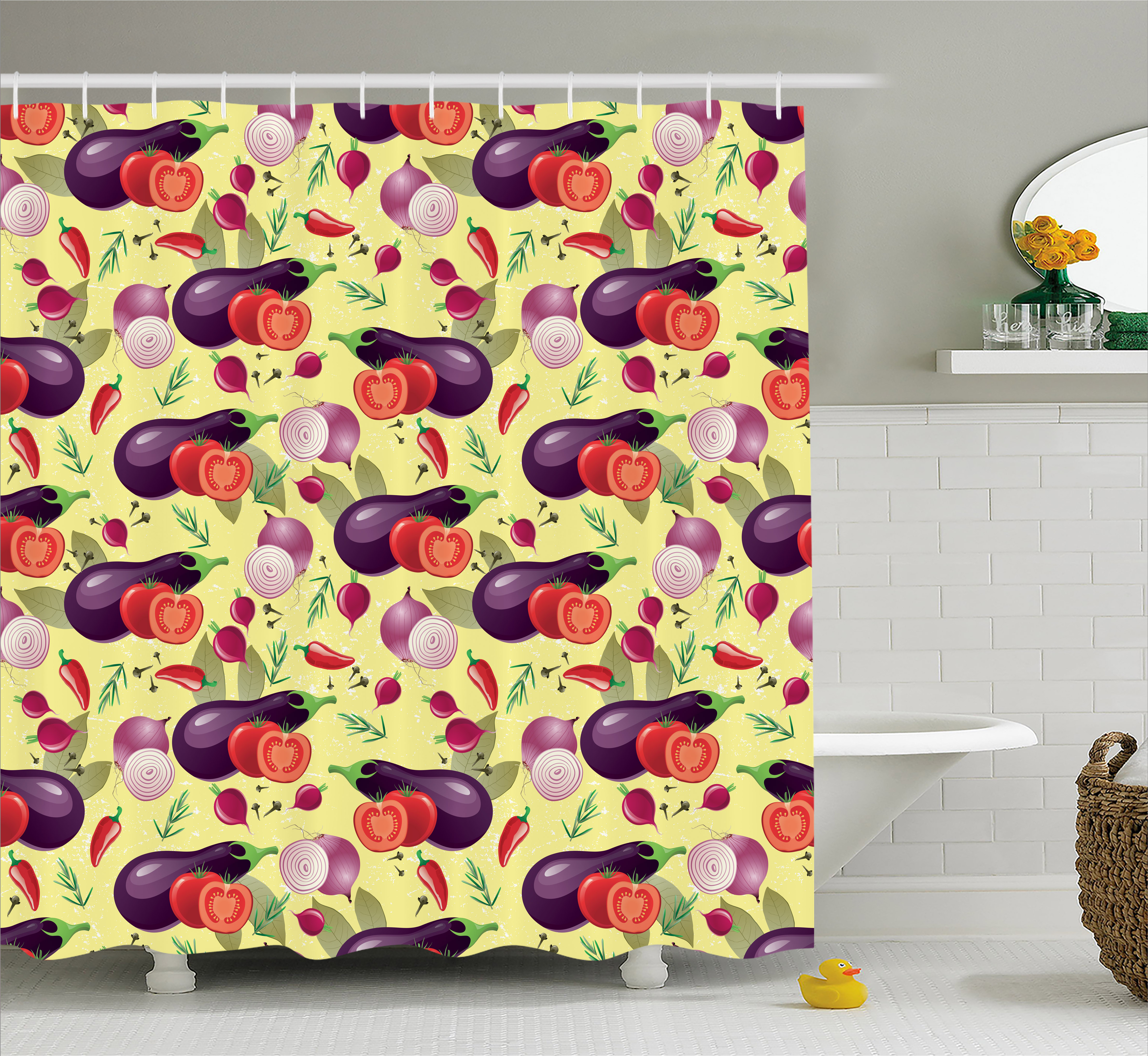 Eggplant Shower Curtain Tomato Relish Onion Going Green Eating Organic Tasty Preserve Nature Fabric Bathroom Set With Hooks 69W X 75L Inches