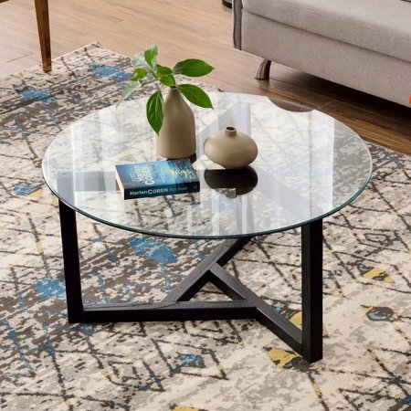 TREXM Round Glass Coffee Table Modern Cocktail Table Easy Assembly Sofa Table LeisureWood Tea Table Office Conference Pedestal Desk for Living Room with Tempered Glass Top & Sturdy Wood Base,Espresso ()