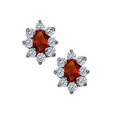Fancy Oval Garnet and CZ Halo Stud Earrings in 14K White Gold - image 1 de 2