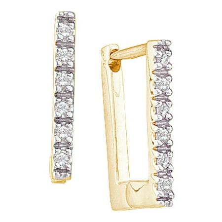 14kt Yellow Gold Womens Round Diamond Rectangle Huggie Hoop Earrings 1/20 Cttw 0.25 Ct Tw Hoop