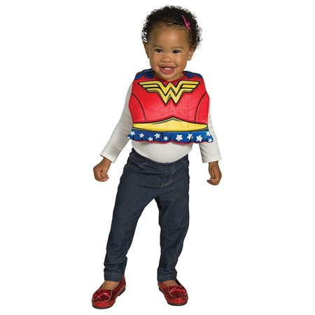 DC Comics Wonder Woman Baby Costume Bib w/ Removable Cape](Wonder Woman Costume For Toddler)