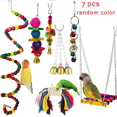 Bird Parrot Toys,7 Packs Beaks Metal Rope Small Parrot Cage Bird Toys