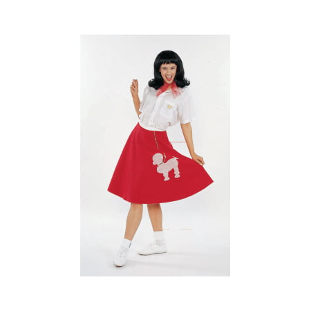 COSTUME-ADULT POODLE SKIRT-RED
